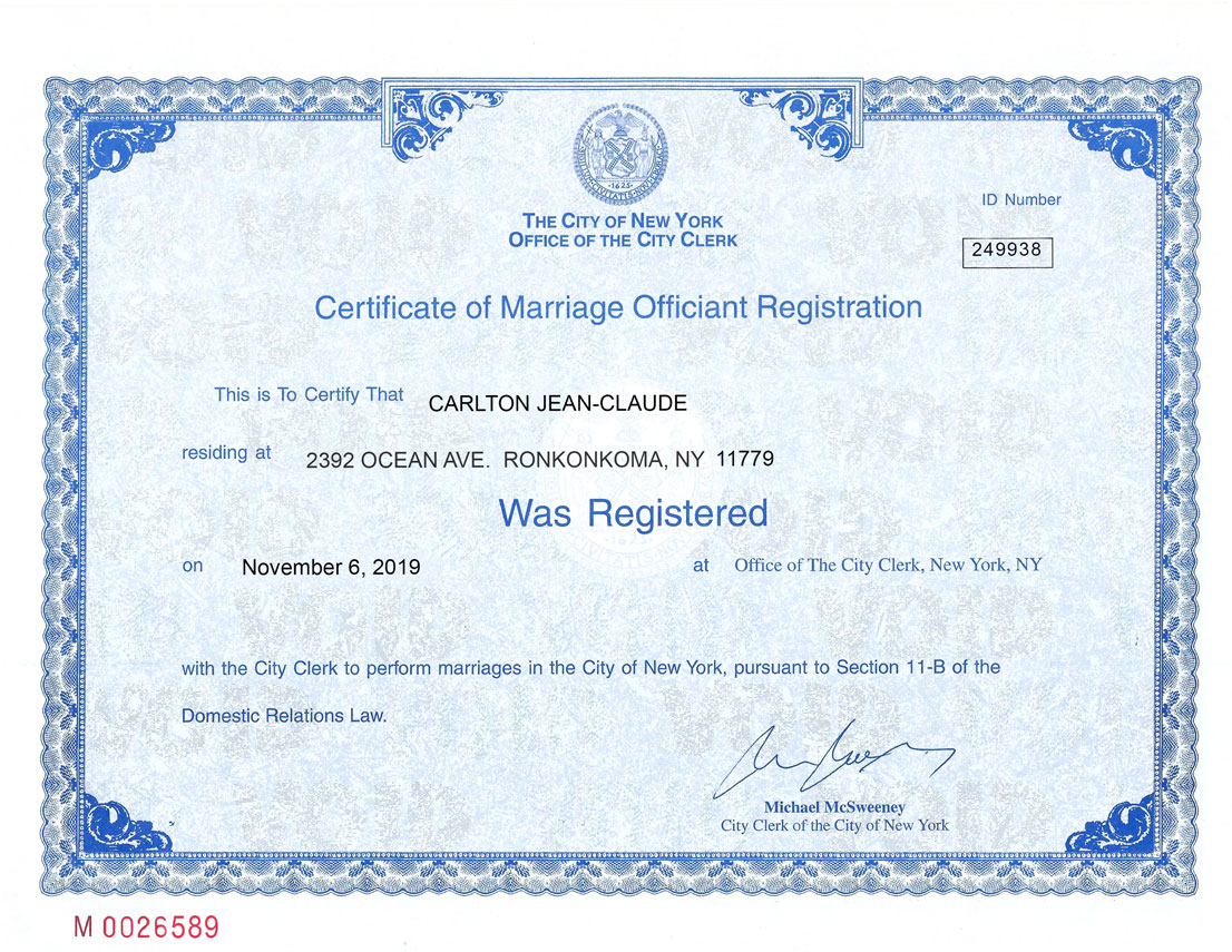 Reverend Carlton's officiant registration