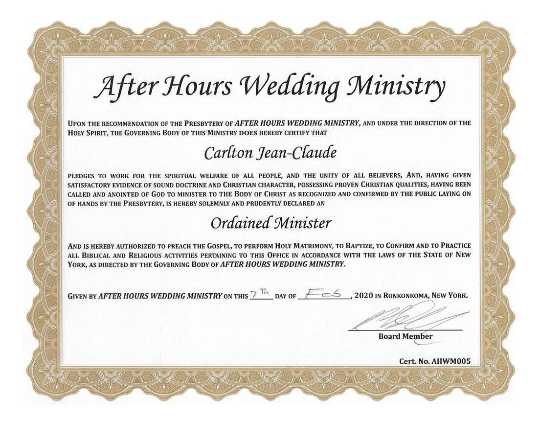 Reverend Carlton's officiant certification