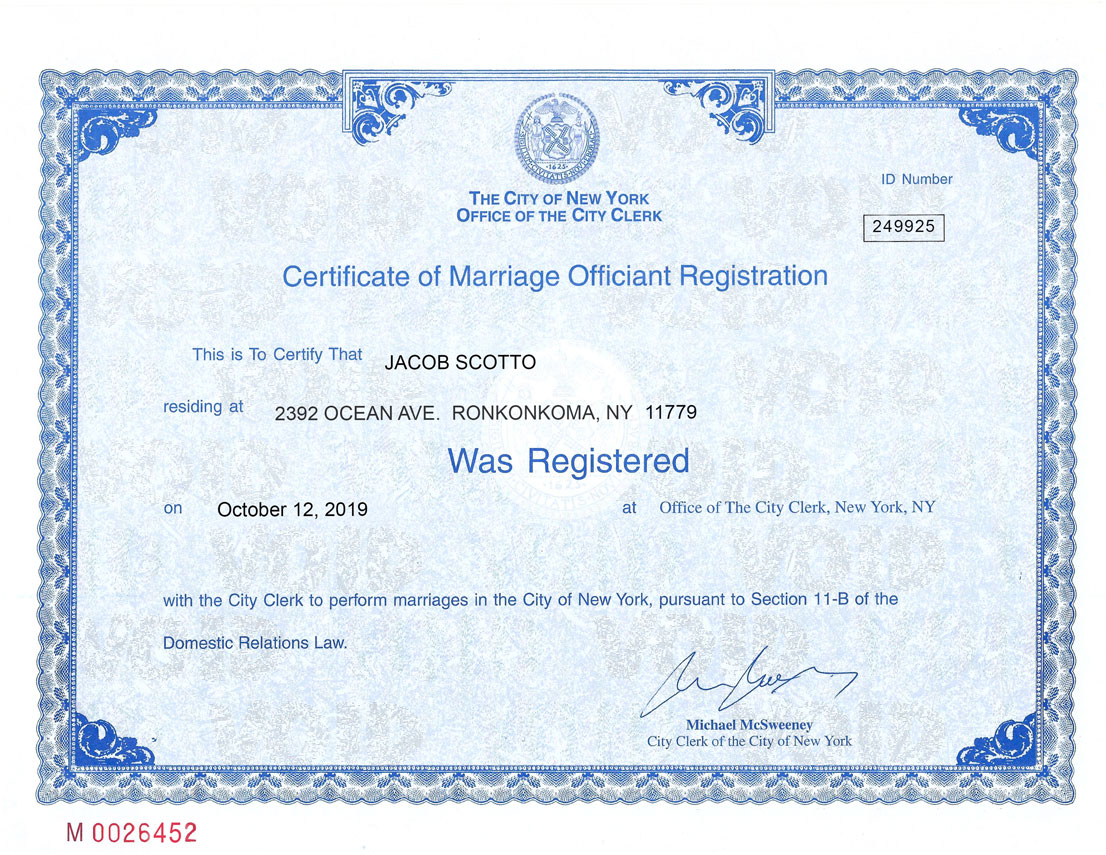 Reverend Jake's officiant registration