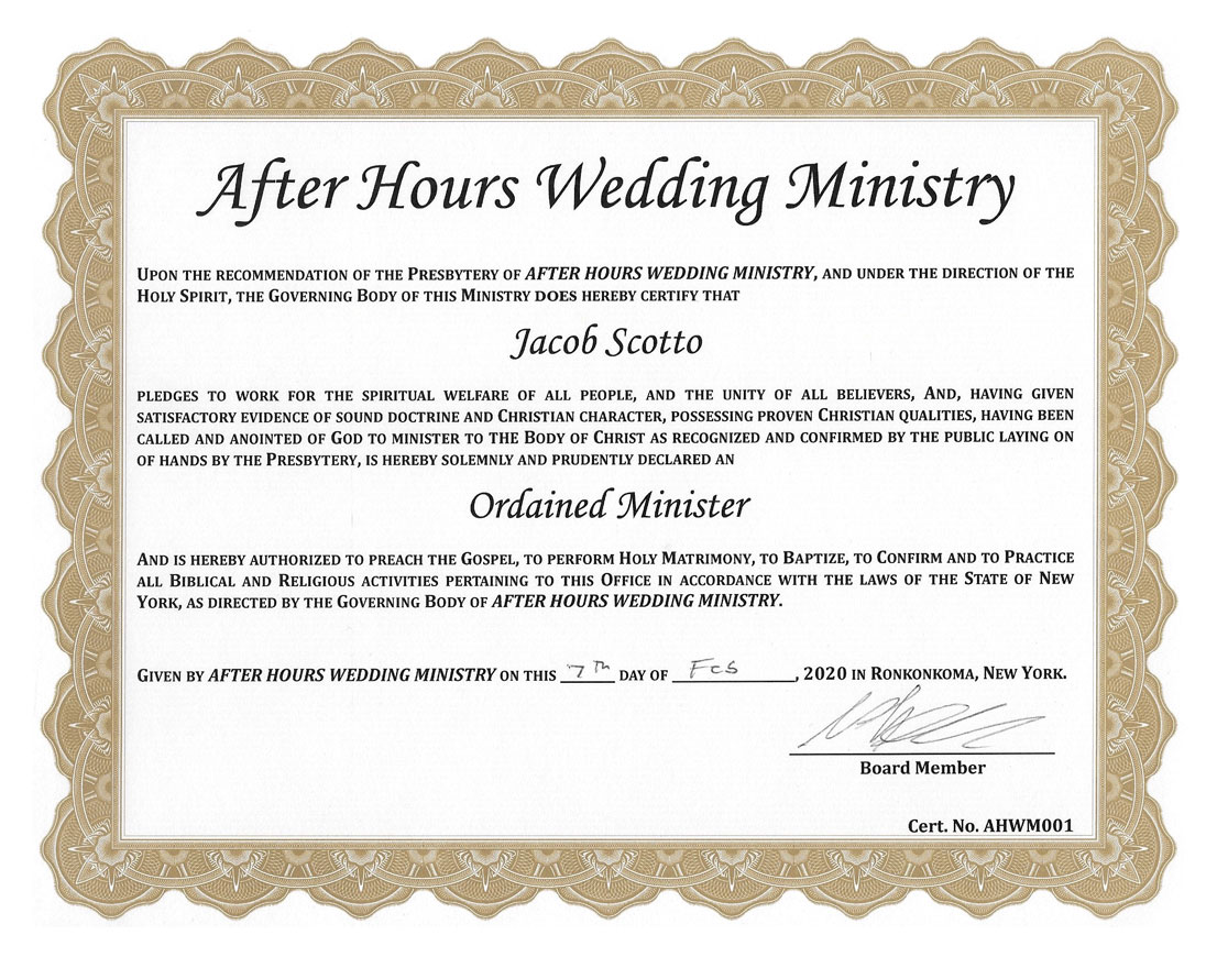 Reverend Jake's officiant certification