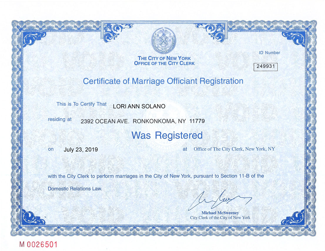 Reverend Loriann's officiant registration