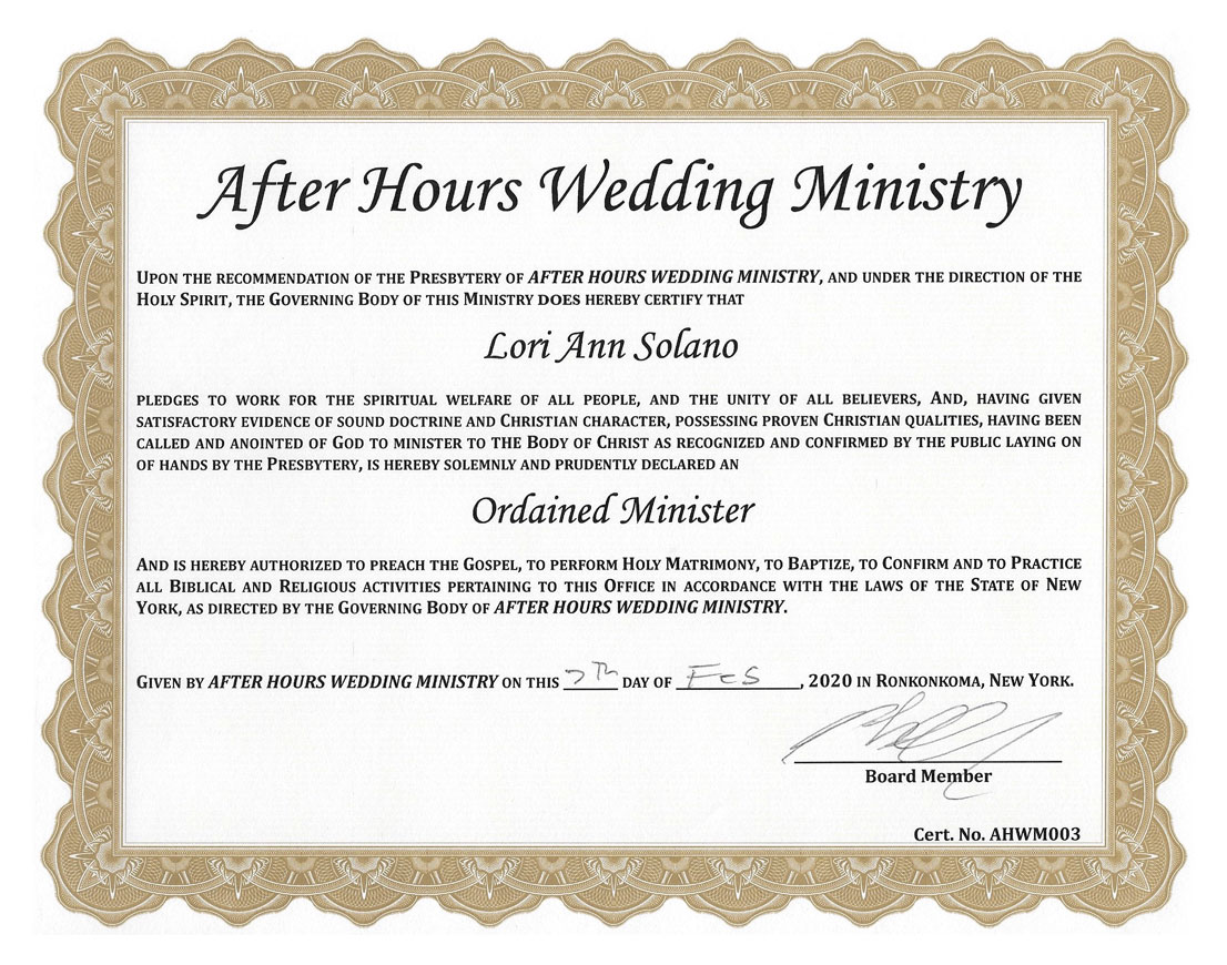 Reverend Loriann's officiant certification