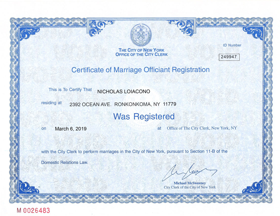 Reverend Nick's officiant registration