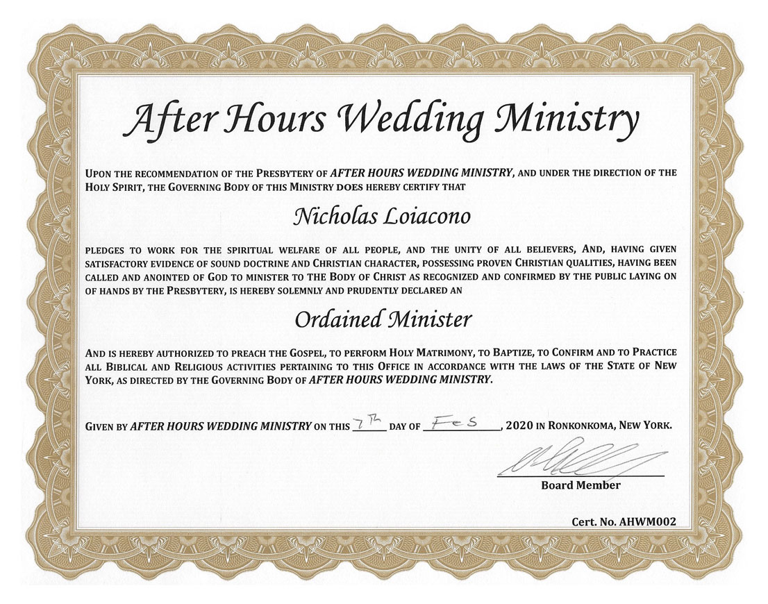 Reverend Nick's officiant certification