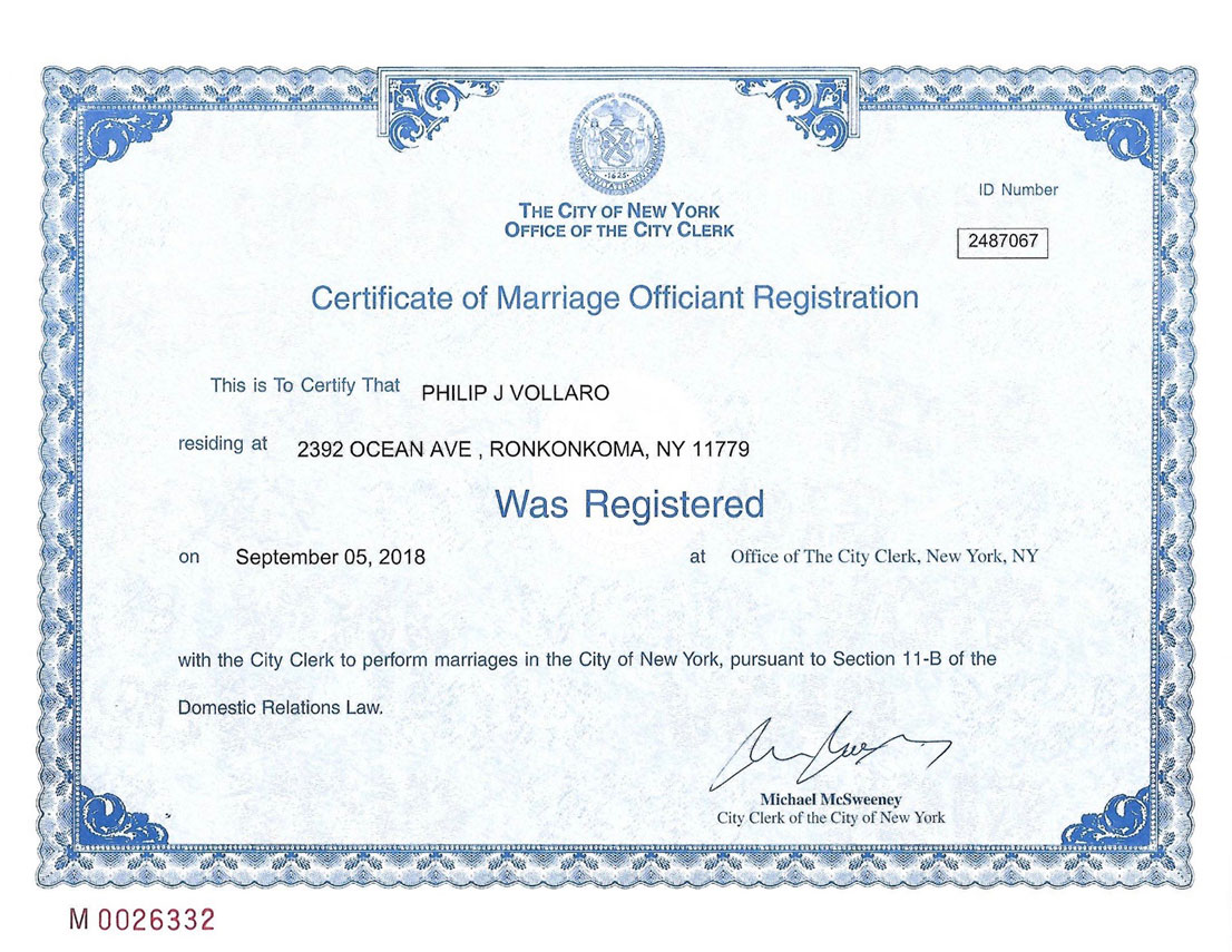 Reverend Phil's officiant registration