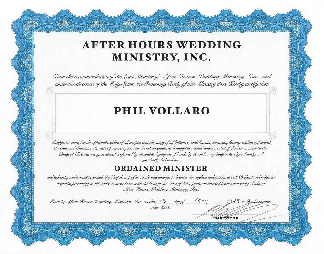 Reverend Phil's officiant certification