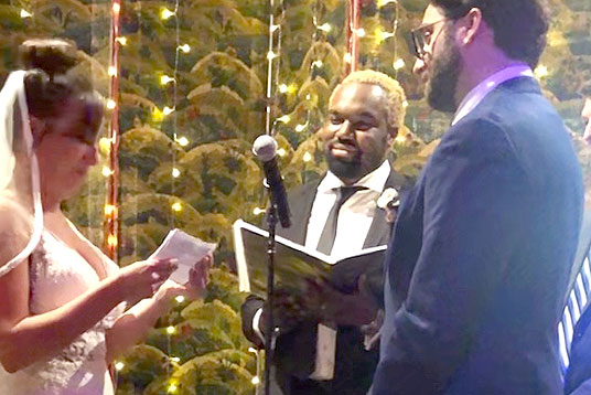 Reverend Carlton, wedding ceremony officiant
